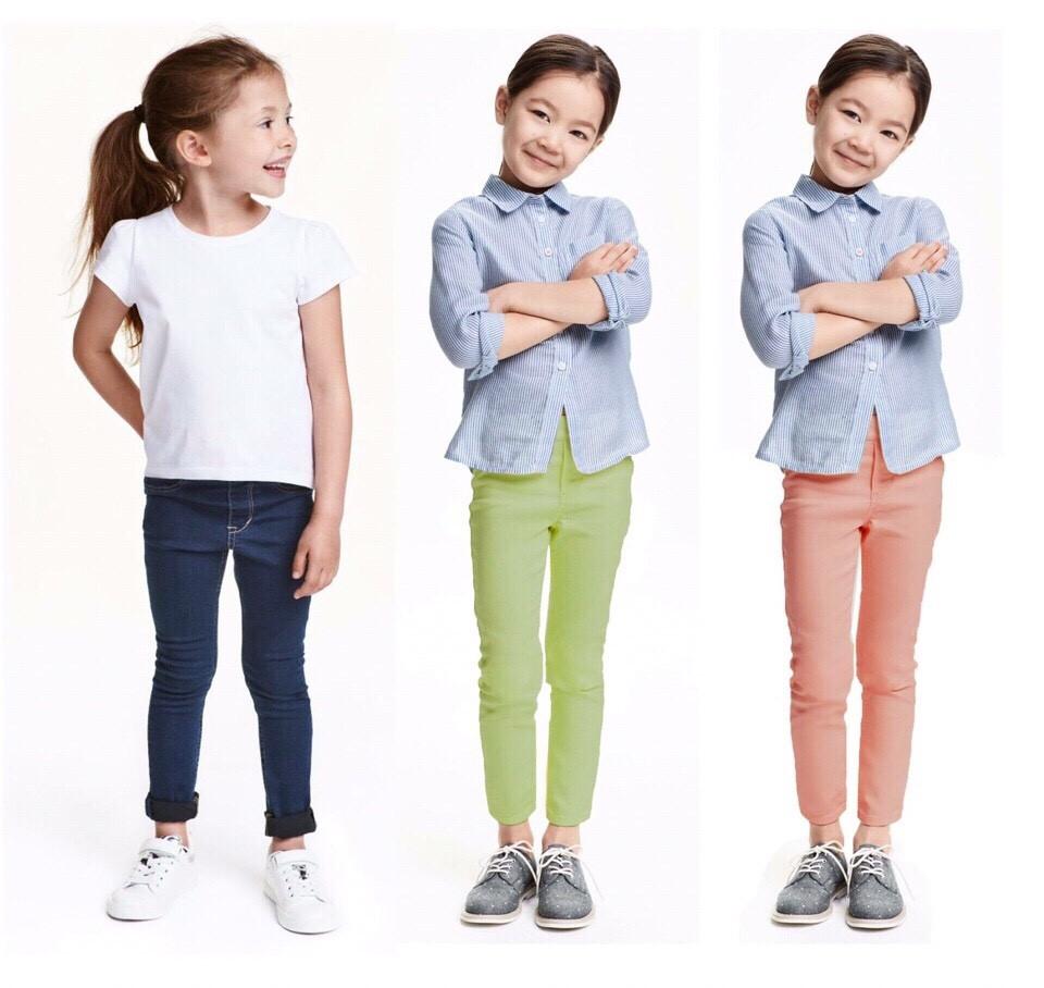 736: Quần Jeggings giả jean  kaki co giãn bé gái. H&M DƯ XỊN - Size 2-8T. Cambodia xuất xịn. 3 MÀU.