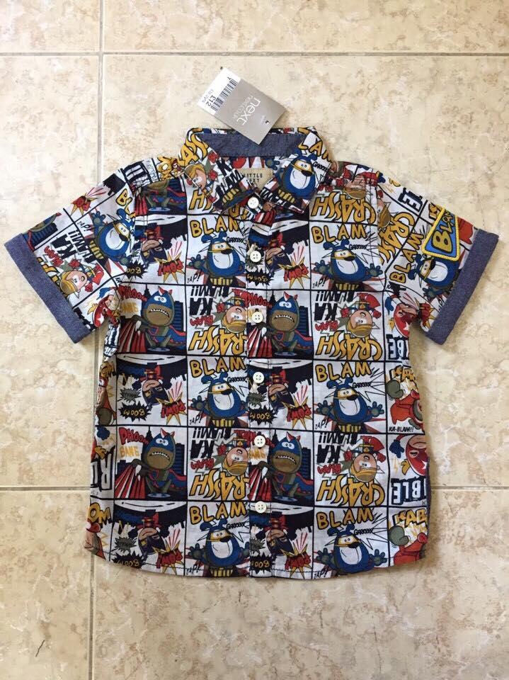 875: HÀNG ĐANG VỀ - Áo Sơmi Next bé trai xuất UK, hàng mới chất cotton 100% mỏng rất thoáng mát, hình nhân vật rất vui nhộn, full túi tag.